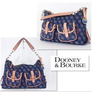 Dooney & Bourke Leather & Denim Satchel Hobo Bag